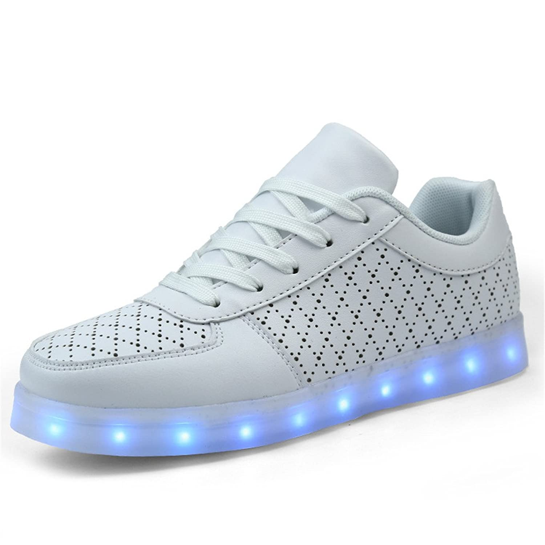 DoGeek Unisex Hombres Mujeres 7 colores Light Up LED Zapatos Blanco Negro (mejor pedir una
