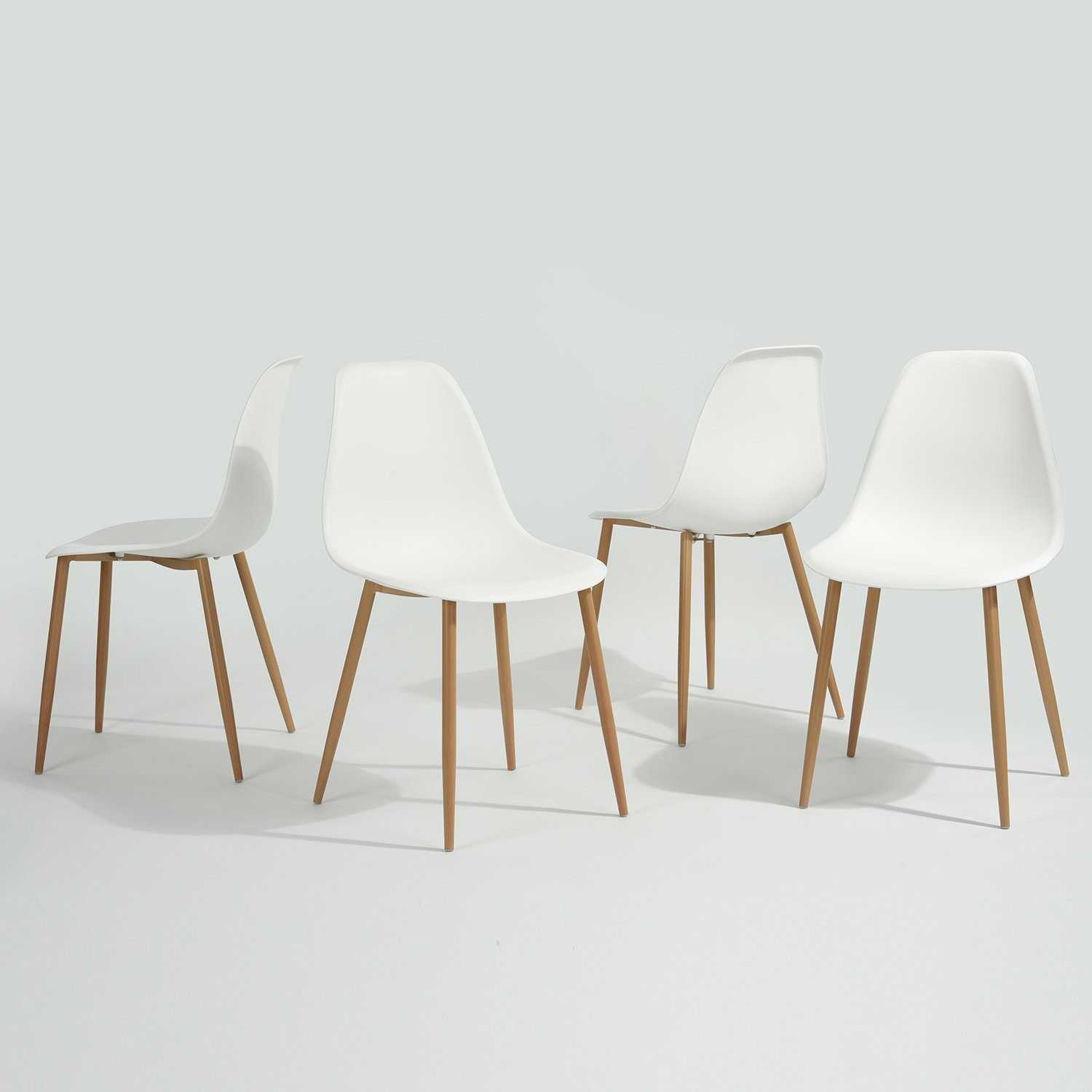 GreenForest Eames Dining Chair, Metal Wood Legs Plastic Seat and Back for Dining Room Chairs, Sets of 4 White