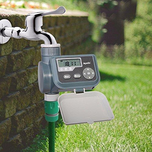 Aqualin Waterproof LCD Screen Watering Timer Solenoid Valve Garden Water Timer Garden Irrigation Controller with Multifunction #21004A