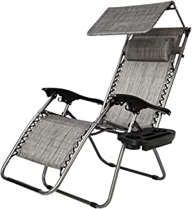 Teeker Folding Beach Chair, Lounge Chair Outdoor with Sunshade,Zero Gravity Reclining Chair with Cup Holder and Headrest for Garden/Outdoor (Gray)