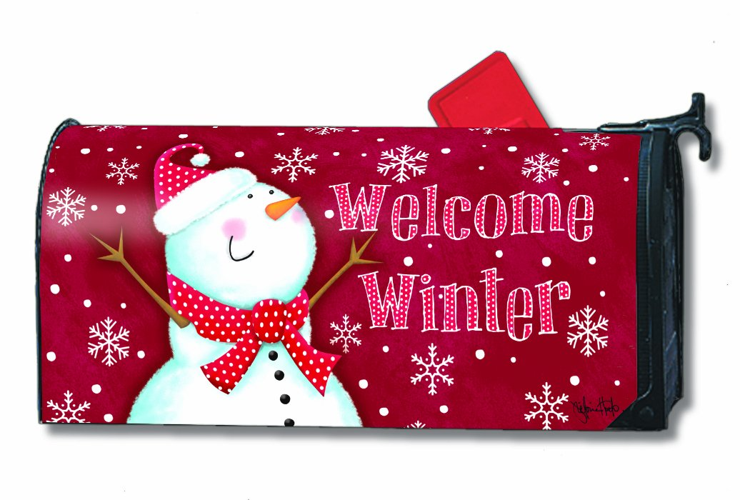 Red Christmas mailbox cover with snowflakes and welcome winter design Christmas snowman outdoor decorations