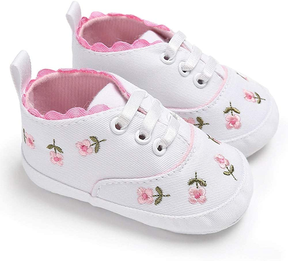 0~18 Mois Chaussures de B/éb/é,Alaso Chaussons B/éb/é Brod/és Sneaker Semelles Souples Anti-d/érapantes Chaussures Baskets Tissu Coton