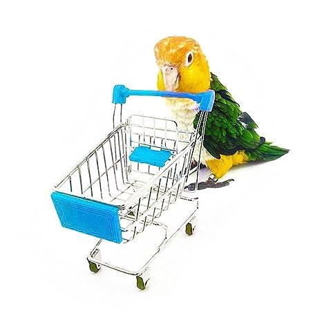 UEETEK Juguetes de mascotas aves loros inteligencia formación jugando Mini carrito de la compra para perico
