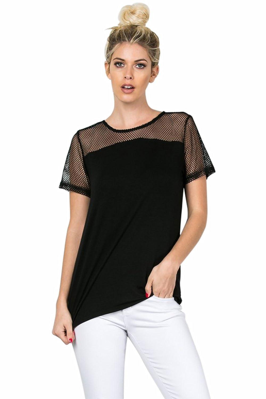Vialumi Women's Juniors Short Sleeve Mesh Upper Back Zipper Shirt Black