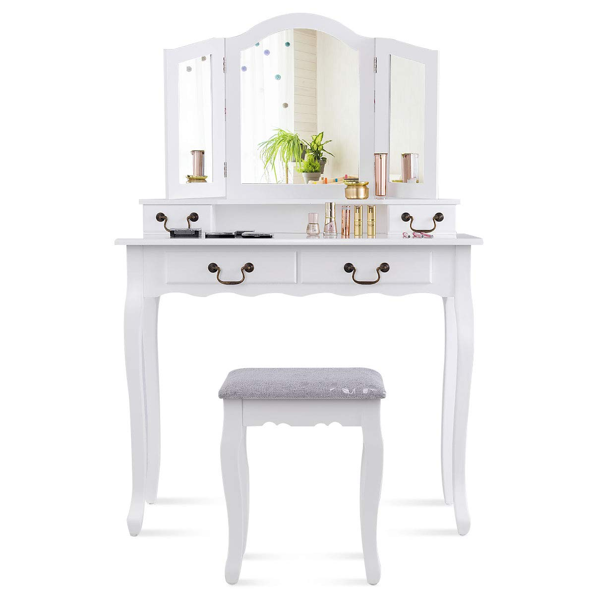 CHARMAID Tri-Folding Mirror Vanity Set with Cushioned Stool and 4 Drawers, Makeup Dressing Table with Cushioned Stool for Women Girls Bedroom, Bedroom Bathroom Vanity Table and Stool Set (White)