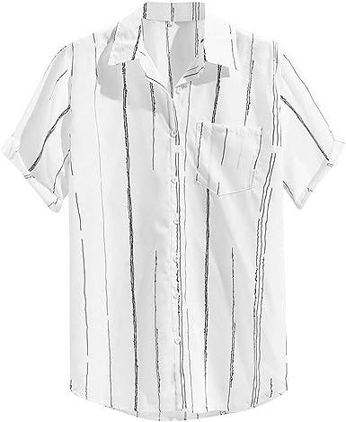 Leedy - Camisa de Botones para Hombre de Pecho, Transpirable, de Manga Corta Blanco L: Amazon.es: Ropa y accesorios