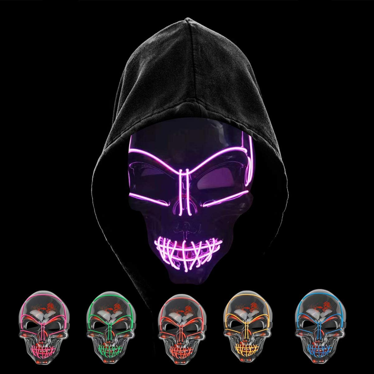 KiraKira Máscara LED Halloween, Halloween LED Máscaras Adultos LED Mask para la Fiesta de Disfraces, Máscara Disfraz Luminosa Craneo Esqueleto (red01)