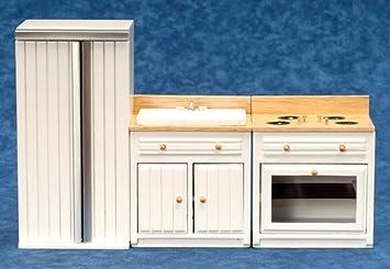 Kühlschrank Puppenhaus : Puppenhaus miniatur weiß eichenholz küchenmöbel set waschbecken