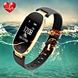 Fitness Tracker, Women Sport Tracker Smart Watch Band Bracelet - Heart Rate Monitor Smart Bracelet - Women Swimming Wristband Watch with Health Sleep Activity Tracker Pedometer - Android iOS (Black Gold)