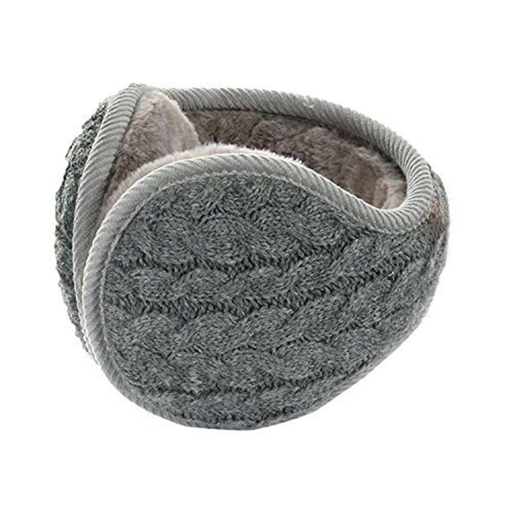 Unisex Knit Wool Foldable Earmuffs, Women's Men's Thick Fleece Lined Winter Thermal Ear Warmers Adjustable Wrap Outdoor Sports Plush Warm Ear Covers Earmuff Running Cycling Ski Snow Ear Muffs Headband Baixt Group Limited