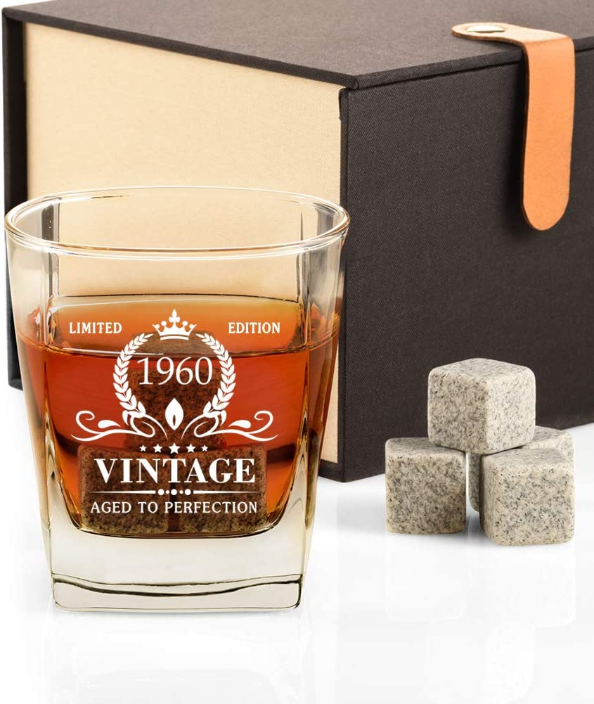 Amazon Com 60th Birthday Gifts For Men Vintage 1960 Whiskey Glass And Stones Funny 60 Birthday Gift For Dad Husband Brother 60th Anniversary Present Ideas For Him 60 Year Old Bday Decorations