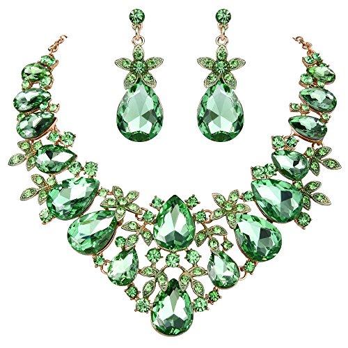 Earrings Floral Crystal Necklace (BriLove Gold-Toned Jewelry Set Bohemian Boho Crystal Flower Leaf Vine Teardrop Statement Necklace Dangle Earrings Set Peridot Color)