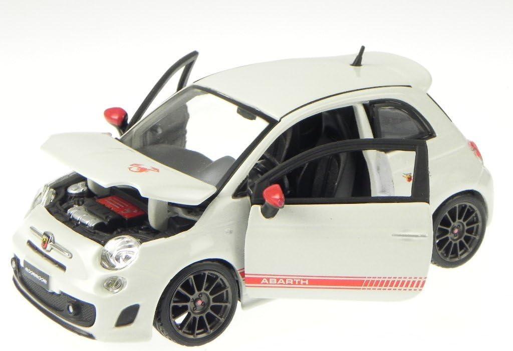 Fiat 500 Nuova Abarth Esseesse Weiss Graue Felgen Coupe 2007-2015 1//24 Bburago..