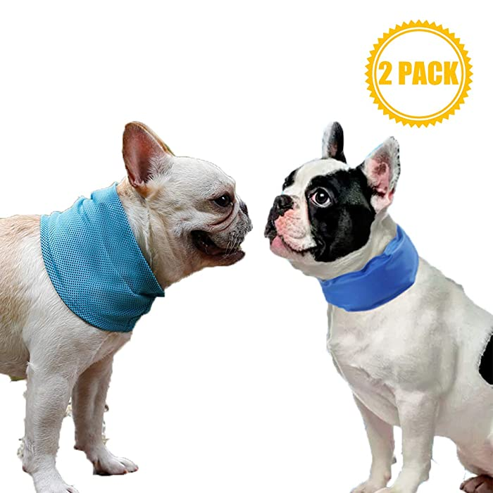 Coomour 2PCS Cooling Dog Collar with Adjustable Neck Scarf, Pet Chill Out Bandana for Summer 3 Different Sizes Cooling Collar