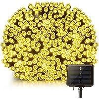 Guirlande lumineuse solaire, Mpow 200LED étanche Guirlande lumineuse extérieur 22m avec 8 modes pour jardin, maison, terrasse, cour, arbres, les fêtes, mariage Blanc chaud