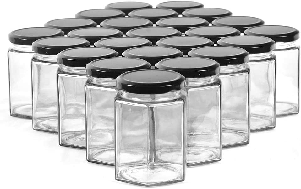 CycleMore 9oz Hexagon Glass Jars with Black Lids, Clear Glass Canning Jars Jam Jars Bottles for Jams, Honey, Wedding Favors, Baby Foods, Gifts and Craft, DIY Spice Jars and More(Pack of 24)