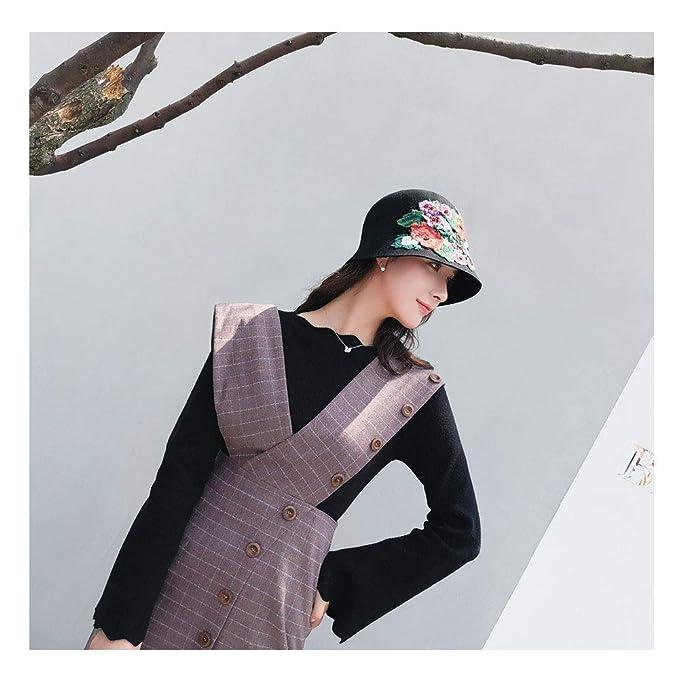 e5f67c9a2f4ba SSLA 2019 New Wool Felt Hat National Style Female Fedoras Hand-Crocheted  Peony Floral Dome