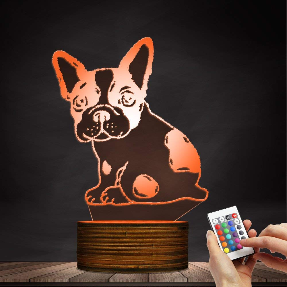 Novelty Lamp, Optical Illusion 3D LED Lamp Night Light French Bulldog, USB Powered Remote Control Changes The Color of The Light, Bedroom Table Lamp, Children's Gift, Home Decoration,Ambient Light by LIX-XYD (Image #3)