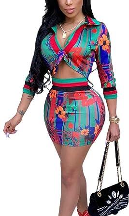 ab9200490059 Women 2 Piece Outfits Long Sleeve Crop Top Blouse + Short Skirt Set 1 XS