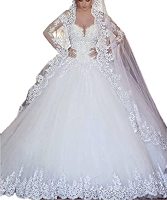 3a7f466bf8 APXPF Women s Cathedral Train Lace Applique Wedding Dress for Bride with Match  Veil at Amazon Women s Clothing store