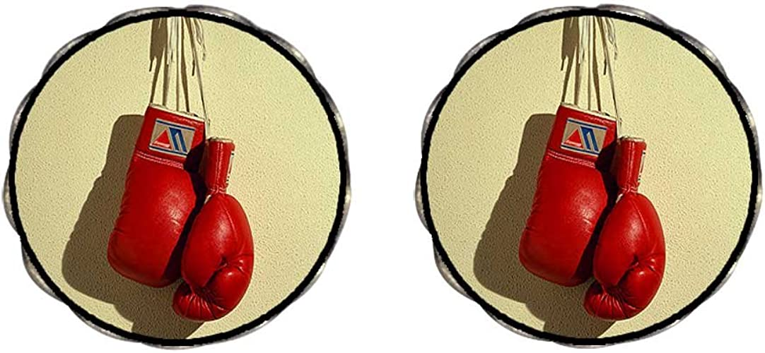 GiftJewelryShop Bronze Retro Style Olympics boxing gloves Photo Stud Heart Earrings #12