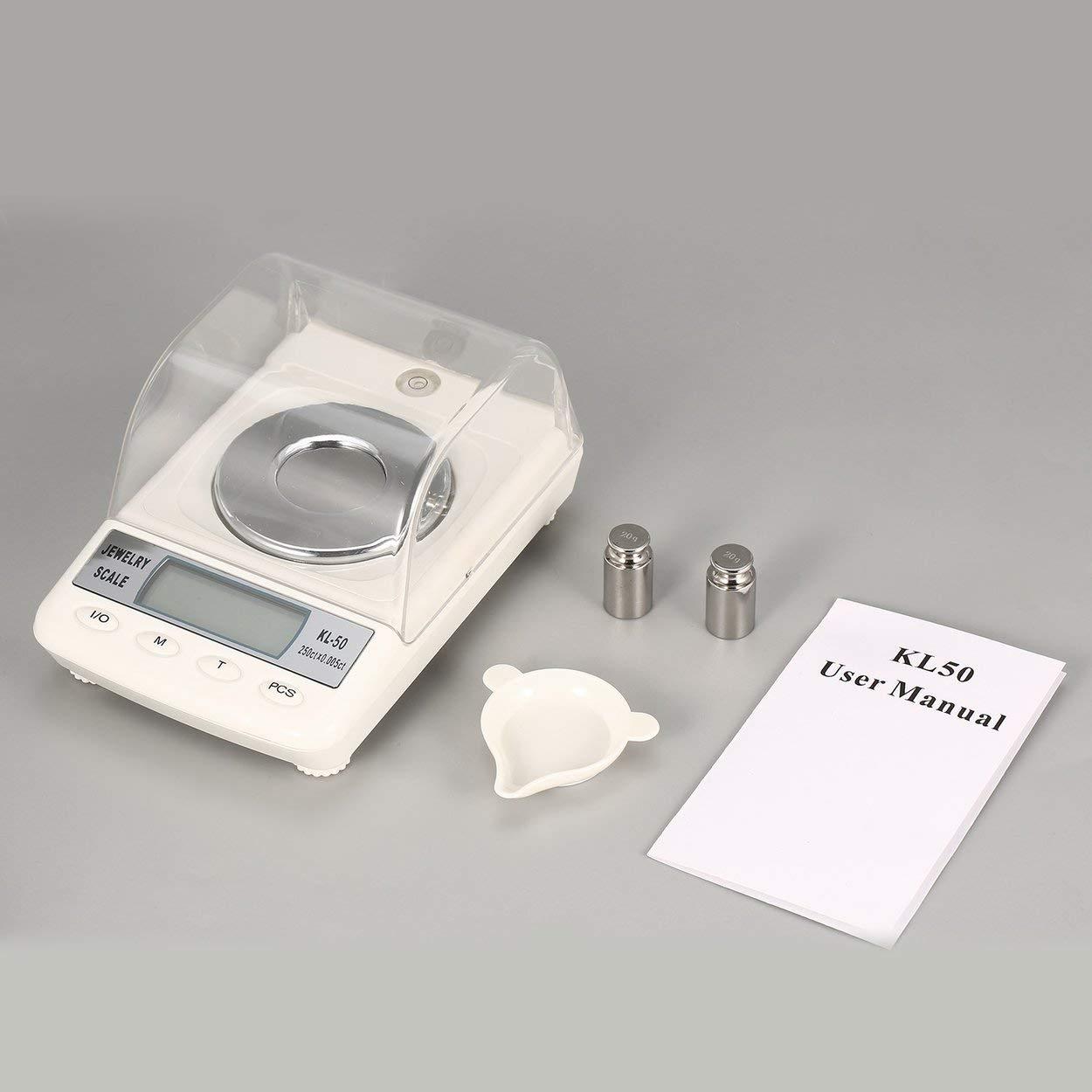 Lorenlli Fit KL-50 échelle de bijoux numérique haute précision 50g / 0.001g poids léger portable électronique diamant balance balance balance