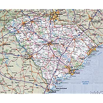 Home Comforts Large Detailed Roads and Highways map of South Carolina State with All Cities Vivid Imagery Laminated Poster Print 24 x 36