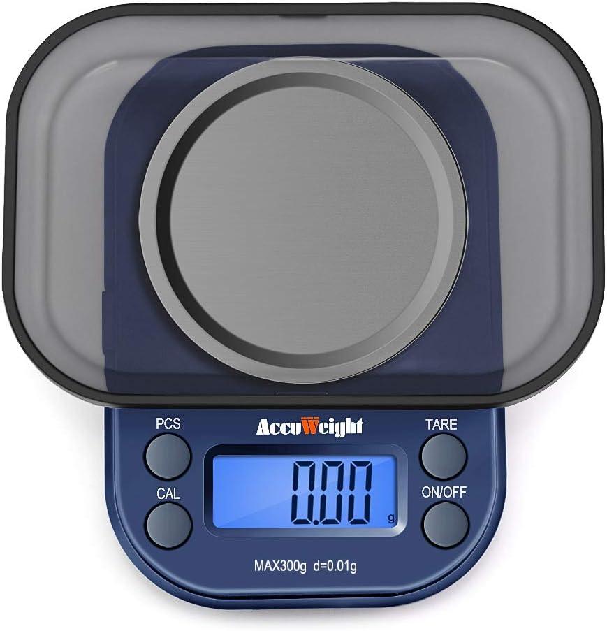 ACCUWEIGHT 255 Mini Báscula de Precisión Digitale para Joyería 300g x 0,01g Balanza de Portátiles Multifuncional con Pantalla LCD Retroiluminada, 6 Unidades, Función de Tara y Conteo (PCS)