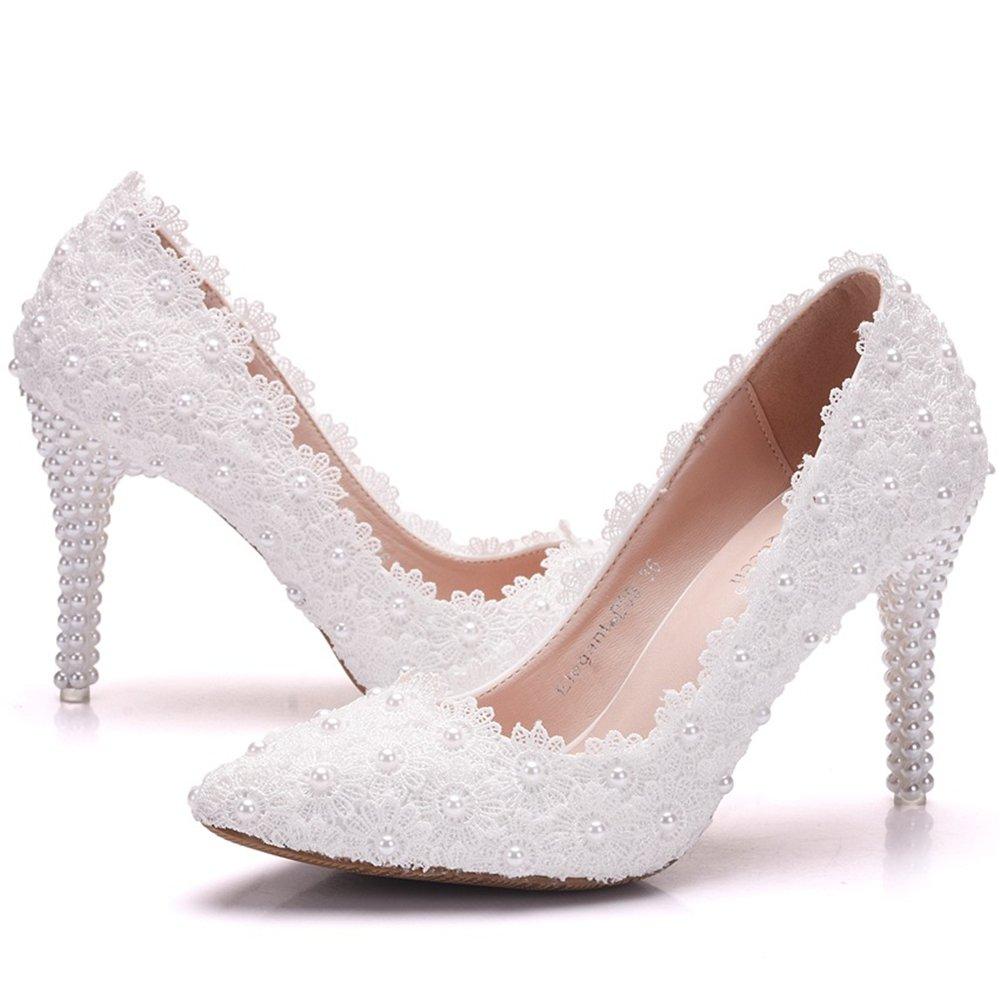 23d74eaa35bcf Amazon.com | coollight Women Pumps White Lace Flower Pearl High Heel ...
