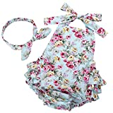 Fubin Baby Girl's Floral Print Ruffles Romper Summer Clothes with Headband 13-24 Months Mint