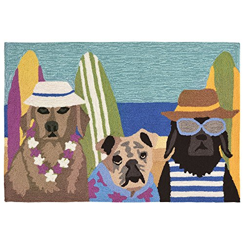 Liora Manne FT112A74944 Folly Summer Pups Rug,Indoor/Outdoor,  Multicolor (Surfboard Runner)