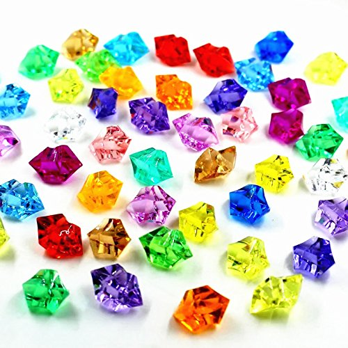 Multi Coloured Crystal - Bogo Arty Acrylic Crystals Clear Gems Ice Rocks Colored Stones for Vase Fillers, Table Scatter, Party Favor, Wedding Decoration, Arts Crafts (Approx 150 Pieces)