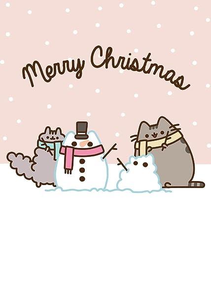 Pusheen Christmas.Pusheen The Cat Merry Christmas Snowman Blank Christmas Card