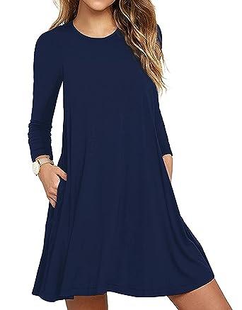 62d57a29063 Tunique Femme Manche Longue Causal Lâche Col Round Poche Loisir Robe Plage  Longue Pyjamas Coton Hiver