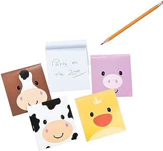 Farm Barnyard Animal Face Mini Notepads - 24 pcs