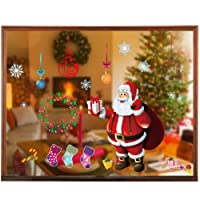 Christmas Window Clings Decal Stickers Decorations - Merry Xmas Snowflake Balls Santa Claus