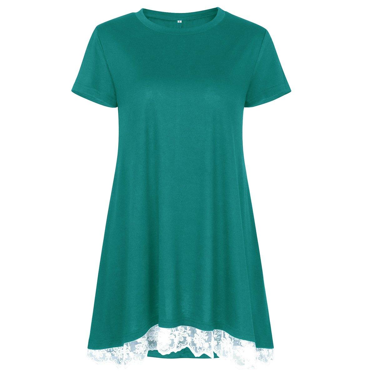 Camiseta de Manga Corta de Color Liso para Mujer.Cuello ...