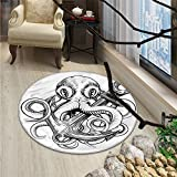 Octopus Round Area Rug Carpet Illustration of An Octopus Holding A Ships Anchor in A Vintage Woodblock StyleOriental Floor and Carpets Black White