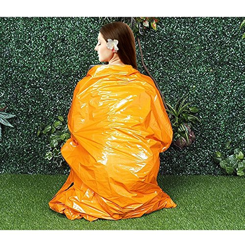 TXY Emergency Survival Thermal Sleeping Bag Durable Reusable Waterproof & Orange Material 84 X 36 inches with Carrying Bag Ideal for Outdoor Camping Hiking Traveling