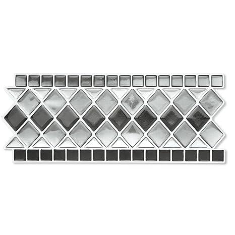 Amazoncom Collections Etc Tile Borders Peel And Stick Backsplash - Self-adhesive-backsplash-set