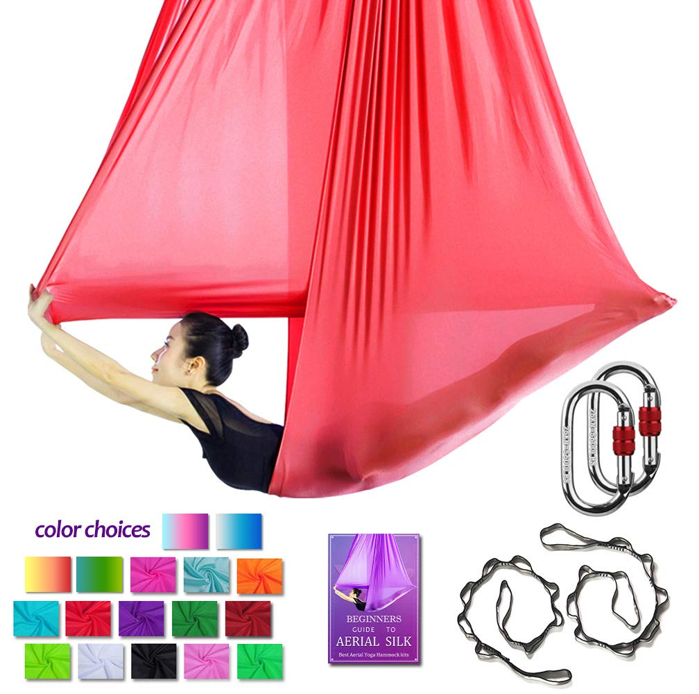 Aerial Yoga Hammock L:5M W:2.8M Aerial Pilates Silk Yoga Swing Set with 2000 Ibs Load Include Carabiner,Daisy Chain, Pose Guide (Red)