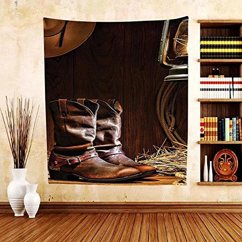 Gzhihine Custom tapestry Western Decor Tapestry Traditional Leather Working Roper Boots with Riding Spurs in Vintage American Barn for Bedroom Living Room Dorm (Aztec Mens Roper)