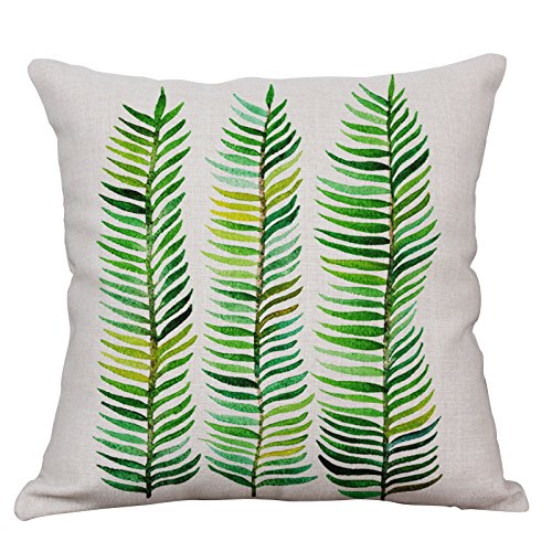YeeJu Green Leaf Decorative Throw Pillow Covers Cotton Linen Square Cushion Covers Tropical Plants Outdoor Couch Sofa Home Pillow Covers 18x18 Inch
