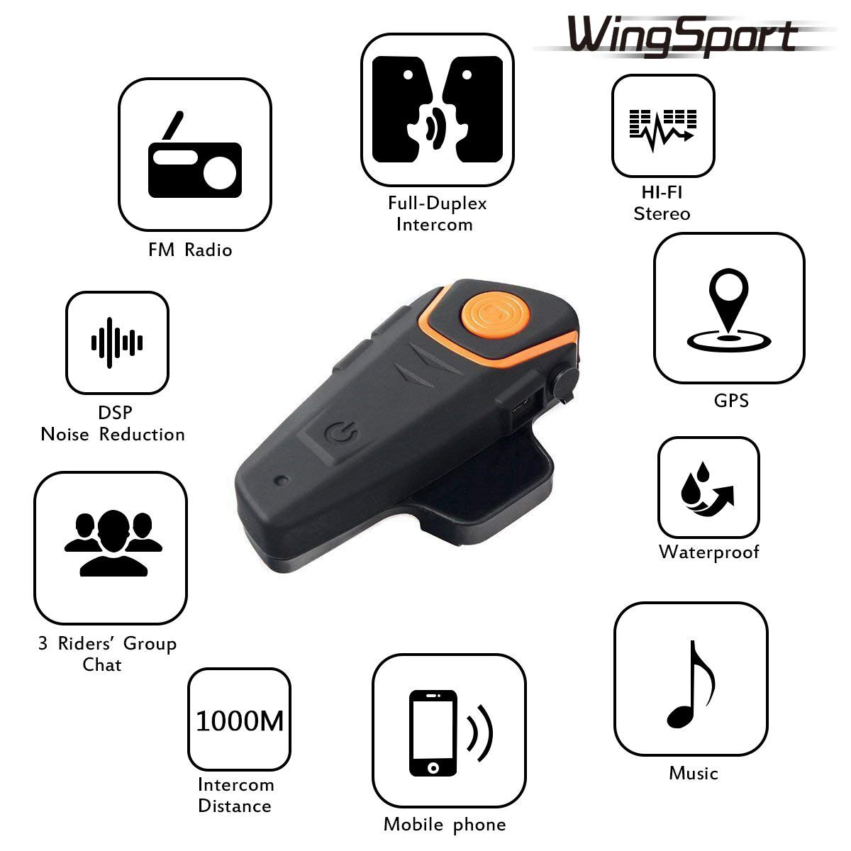 bdeb601cc09 ... WingSport BT-S2 Motorcycle Helmet Bluetooth Headset Intercom  Communication Headset Waterproof Wireless Interphone Walkie Talkie ...