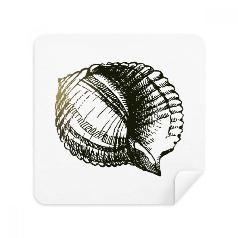 ブラックScallop Marine Life Illustrationメガネクリーニングクロス電話画面クリーナースエードファブリック2pcs   B07C98JYWN