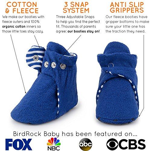 7e788dae6baee Fleece Baby Booties - Organic Cotton & Gripper Bottoms, Cozy Boys & Girls  Bootie (US 2.5, Anchor Blue)