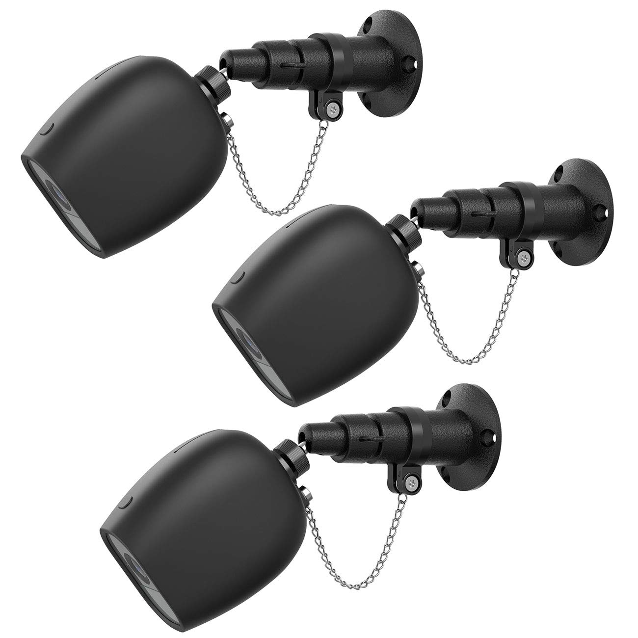 BECROWMUS 3pack Anti-Theft Security Chain Compatible with Arlo Pro Arlo Pro 2 Weatherproof Wall Mount Outdoor Bracket Skins Protective Case Cover for Wireless CCTV HD Security Camera Black by BECROWMUS