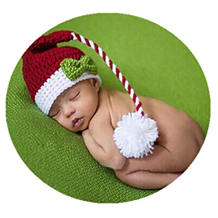 0730c0160 Coberllus Cute Newborn Baby Photography Props Outfits Crochet Boy Girl  Christmas Long Tail Hat Photo Shoot