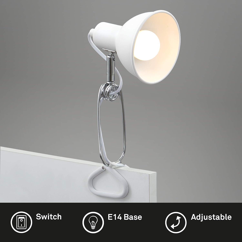 8 Watt in Metallo Max 1x E14 Lampada a Pinza con Cavo con Interruttore Incluso Briloner Leuchten Luce Testina Spot orientabile e Rotante Cromo Bianco