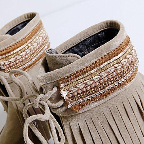 ... YE Damen Flache Ankle Boots Gefütterte Stiefeletten mit Schnürung und  Fransen Bequem Warm Winter Schuhe Braun 8b265c6c49